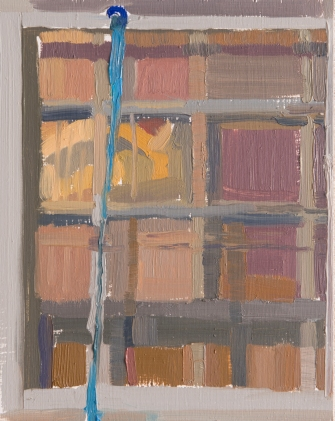 "RECTORY, 111 E 9TH ST, MARION, INDIANA - KRAUSS, ROSALIND. ""GRIDS."" OCTOBER 9 1979 - oil on board. 10"" x 8"", 2015 - Suzie Dittenber"