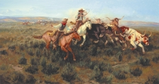 "ALONG THE CHISHOLM TRAIL - oil on canvas. 42"" x 78"", 1987 - Joe Beeler"
