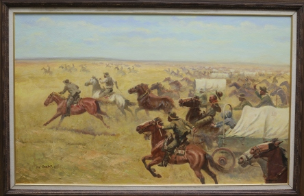 "RUN OF '89 OKLAHOMA - oil on canvas. 26"" x 42"", not dated - Joe Beeler"