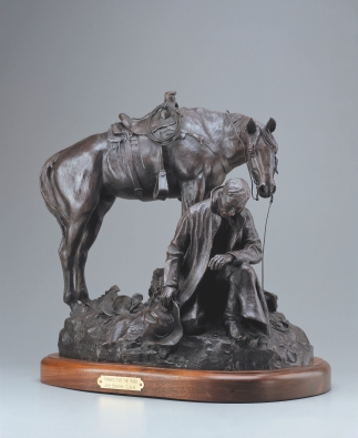 "THANKS FOR RAIN - bronze. 17.75"" x 19.5"" x 13.5"", 1984 - Joe Beeler"