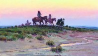 "APACHE SUNDOWN - oil on canvas. 15"" x 25"", 1976 - Joe Beeler"