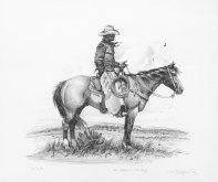 "ARIZONA COWBOY - stone lithograph. 17.5"" x 21"", 1976 - Joe Beeler"