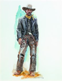 "THE GUN HAND - watercolor on paper. 20"" x 17"", 1996 - Joe Beeler"