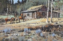"COWBOYS AT LOG CABIN - watercolor on paper. 19.5"" x 30"", 1978 - James Boren"