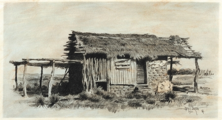 "MEXICAN HUT - charcoal on paper. 8"" x 15"", 1971 - James Boren"
