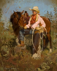 "READY TO RODEO - oil on board. 20"" x 18"", 2006 - Nancy Boren"