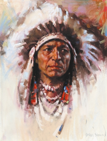 "PORTRAIT OF AN INDIAN - pastel on paper. 19"" x 14"", not dated - Harley Brown"