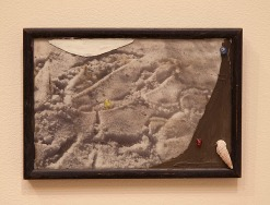 "CHRISTIAN DOTREMONT PHOTOGRAPHY (WORD WRITTEN IN SNOW) - acrylic, beads, shell on glass. 4"" x 8"", 2014 - Peter Acheson"