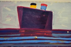 DARK BOAT ON LONG SEA - oil on canvas. Katherine Bradford