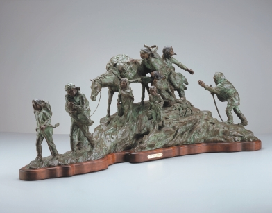 "TRAIL OF TEARS - bronze. 20"" x 47.5"" x 15"", 1977 - Juan Dell"