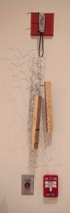 "DIONYSUS - chicken wire, wood and crayon. 28"" x 9"", 2014 - Peter Acheson"