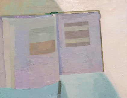"INCANDESCENT LIGHT AND BATHTUB, UPLAND, INDIANA - LYNNE COOK, ED. Agnes Martin (Dia Foundation). NEW HAVEN: YALE UNIVERSITY PRESS, 2012 - oil on board. 11"" x 14"", 2015 - Suzie Dittenber"