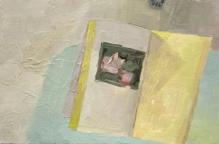 "BATHTUB, UPLAND, INDIANA - KAUFMANN, DAVID. Telling Stories: Philip Guston's Later Works. OAKLAND: UNIVERSITY OF CALIFORNIA PRESS, 2010 - oil on board. 8"" x 12"", 2015 - Suzie Dittenber"