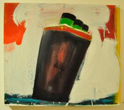 LINER 3 GREEN STACKS - oil on canvas. Katherine Bradford