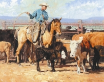 "IN THE DUST OF THE CORRAL - oil on canvas. 22"" x 28"", 2000 - Bruce Green"