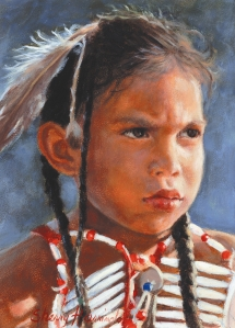 "SIOUX INDIAN CHILD STUDY #2 - WAPILLA - oil on board. 7"" x 5"", 1988 - Sherry Harrington"