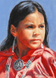 "NAVAJO INDIAN GIRL STUDY - AUBREY - oil on board. 7"" x 5"", 1998 - Sherry Harrington"