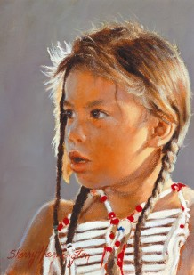 "SIOUX INDIAN CHILD STUDY #1 - J.J. - oil on board. 7"" x 5"", 1988 - Sherry Harrington"