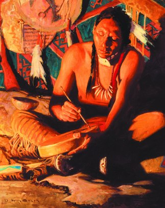 "DRUM SPIRIT - oil canvas. 20"" x 16"", 2002-2003 - David Mann"