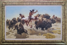 "WHEN THE HERDS ROAMED THE PLAINS - oil on canvas. 23.5"" x 39.5"", 1993 - Frank McCarthy"