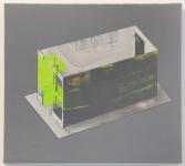 MODEL - acrylic, flashe, casein on jute, panel. Cory Antis