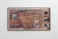 "NEW WORK #174 - pigment print, munsell soil color chart, aromatic cedar frame, mylar tape. 24"" x 46"", 2013 - Jordan Tate"