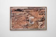 "NEW WORK #173 - pigment print, munsell soil color chart, aromatic cedar frame, mylar tape. 24"" x 38"", 2013 - Jordan Tate"