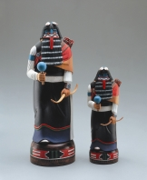 "HEOTO MANA - cottonwood, polychrome. larger figure: 10.5"", smaller figure: 6"", 1996 - Darrel L. Parker"