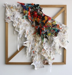 "PEELHIDE - remnant fabric collage. 30"" x 30"" x 4"", 2012 - Andrea Myers"