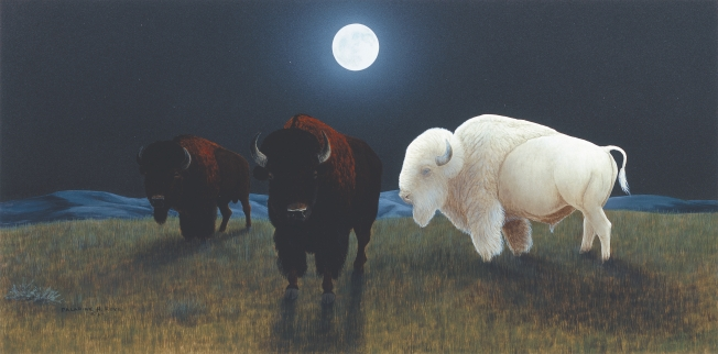"THE WHITE BUFFALO - acrylic. 13"" x 25"", 1987 - Paladine H. Roye"