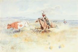 "IN OLD MONTANA - watercolor on paper. 12"" x 18"", 1896 - Charles Marion Russel"
