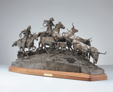 "TEXAS LEGACY - bronze. 19"" x 42"" x 18"", 1986 - Robert Summers"