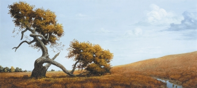"UNTITLED LANDSCAPE (LONE TREE) - oil on canvas. 20"" x 44"", not dated - Robert Summers"