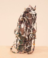 "UNTITLED SCULPTURE 2 - woods. beads, shell, paint, 10"" x 5"" x 5"", 2014 - Peter Acheson"