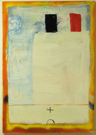 WHITE SHIP RED BLACK STACKS - spray paint and oil on canvas. Katherine Bradford