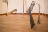 FALLT - newspaper, graphite, oil, wood, packing tape, sound. Dimensions variable, 2015 - Jarrod Beck