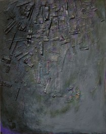 ZEPHANIAH - Oil, acrylic, graphite, conte crayon, Chinese ink with collage of wood, metal, plastic, cloth, handmade Asian papers and pigment transfers on canvas. Courtesy of the Koo Collection, Beverly Hills, California. 60%22 x 48%22, 2010